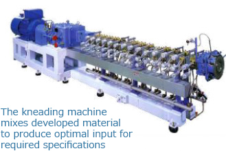 The kneading machine mixes developed material to produce optimal input for required specifications